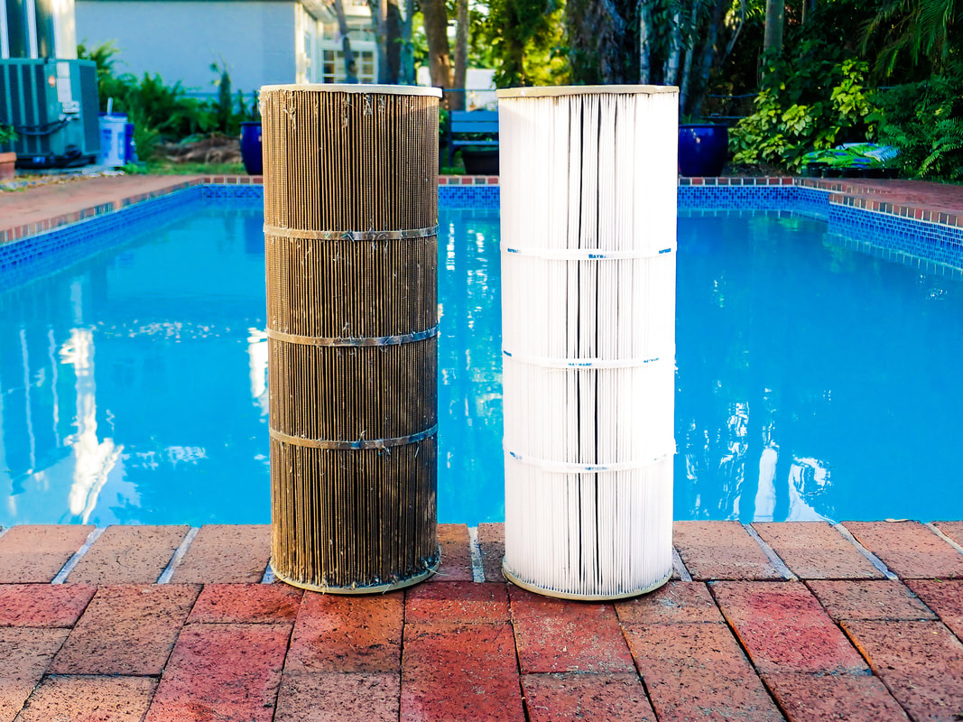 Side by side view of a dirty pool filter on the left and a clean pool filter on the right